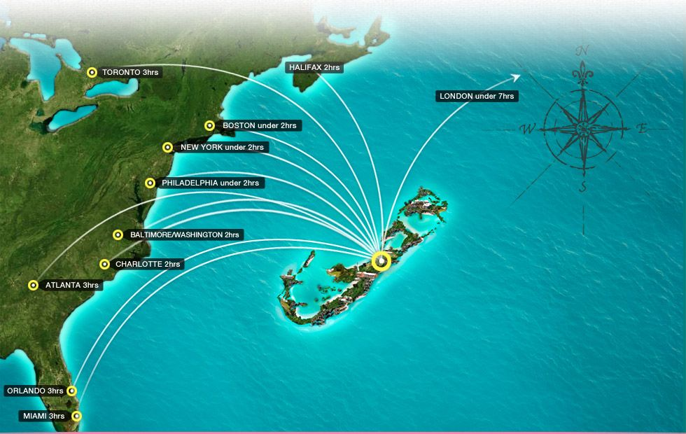 Bermuda Easy To Get There So Close To US Population - Bermuda in relation to us map
