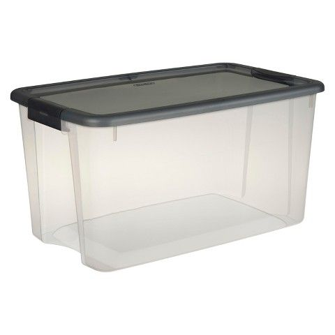 Sterilite Ultra Clear Storage Tote Transparent with Gray Lid 70