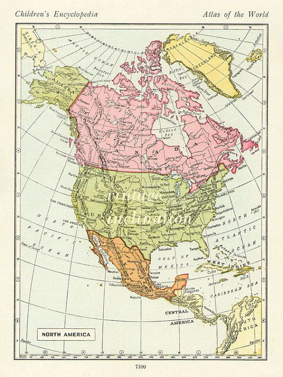 Vintage map United States USA Canada map north america maps, atlas ...