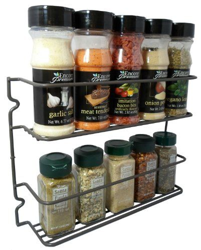 Durable Steel 2 Shelves Wall Mountable Spice Rack Organizer Holder, Stylish  Graphite Color Hopeful By