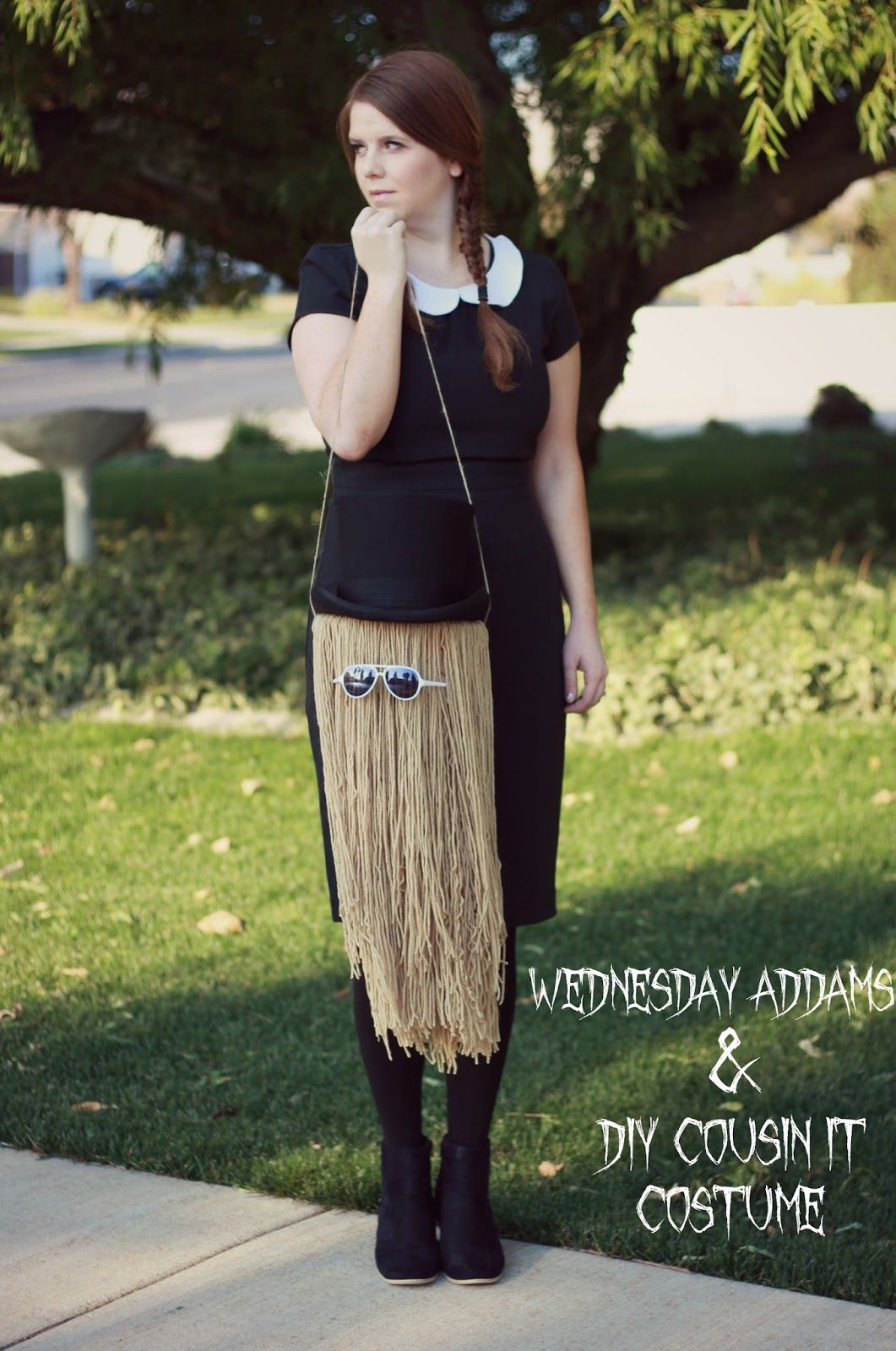 DIY Halloween Costume Wednesday Addams and Cousin It