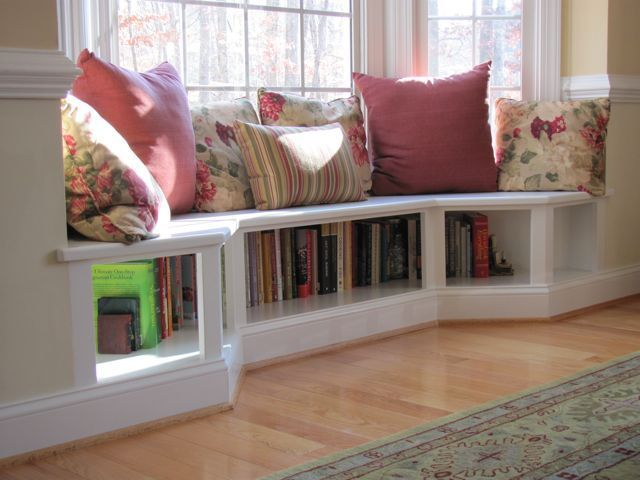 Angled Bench Seating In The Dining Room Creates A Unique Alcove Neat Idea With Bookshelves Beneath Seat Dining Room Windows Home Bay Window Seat