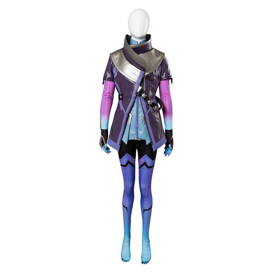 Overwatch Sombra Hacker Cosplay Costume Purple Coat Jacket Suit Jumpsuit Dress