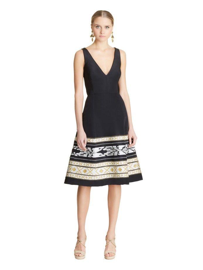 5e1e249e47 OSCAR DE LA RENTA Ikat Embroidered Silk-Faille Cocktail Dress.   oscardelarenta  cloth