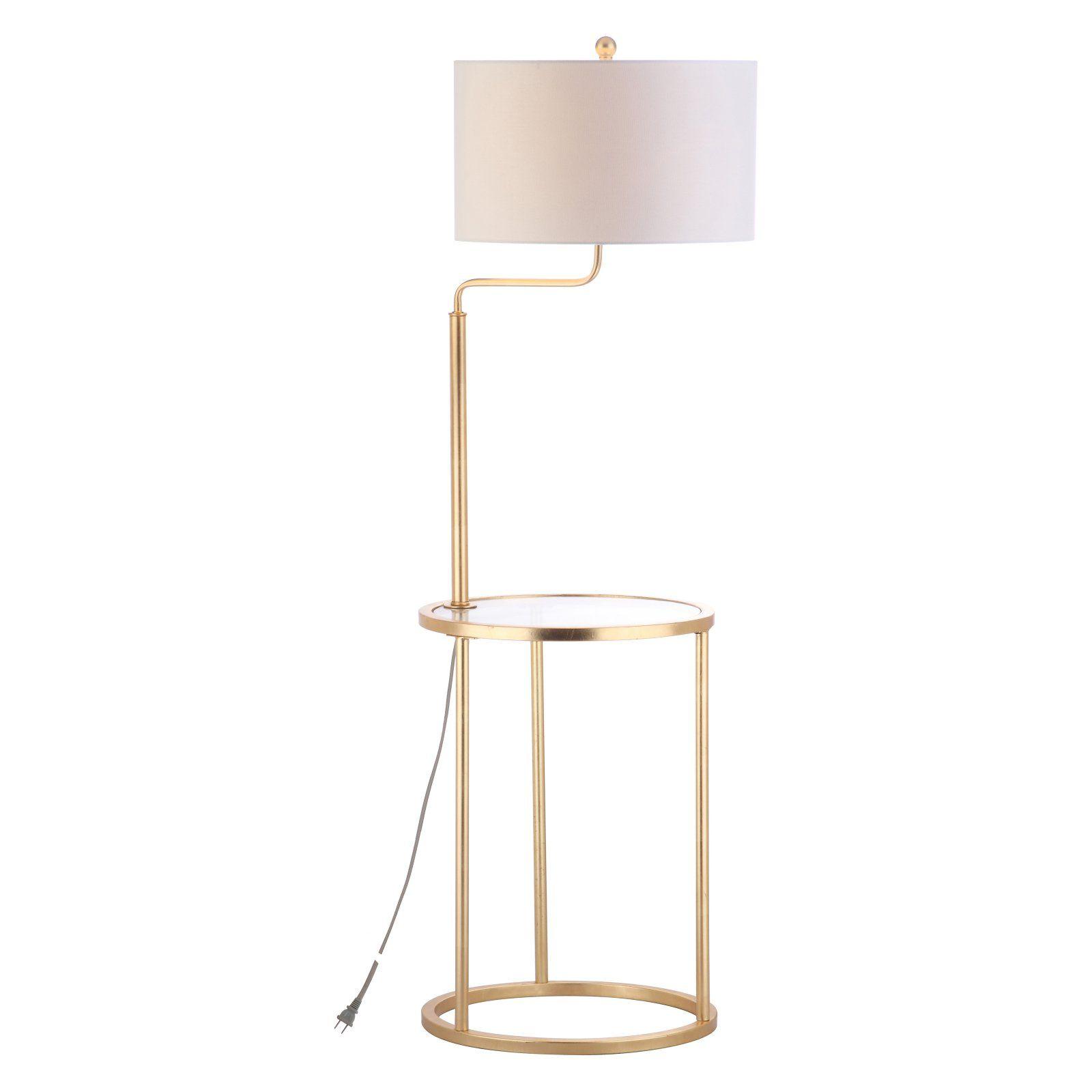 Safavieh Crispin 57 In H Duo Floor Lamp Side Table Gold Walmart Com Side Table Lamps Floor Lamp Table Lamp