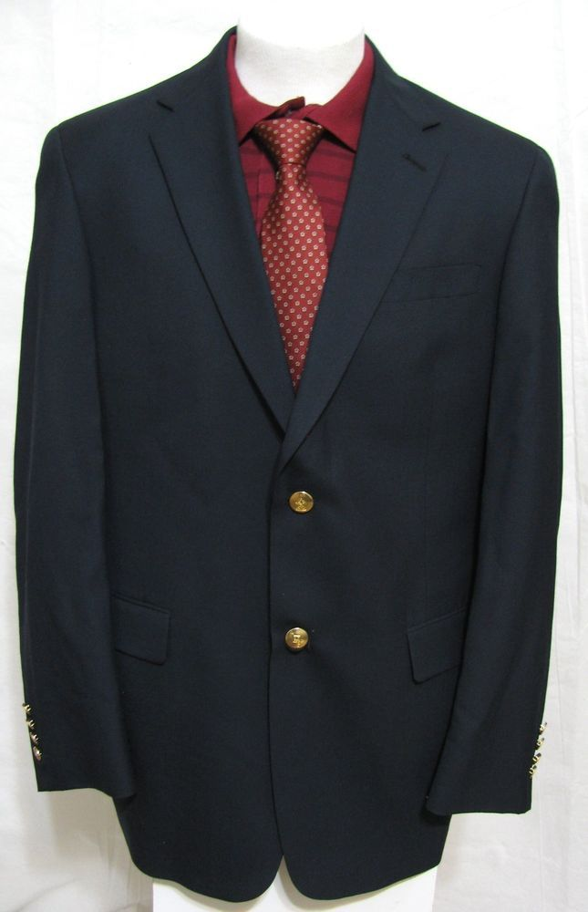 Austin Reed London Black Blazer 41l Made In Usa Gold Metallic Buttons Sport Coat Black Blazer Men Blazers For Men Blazer