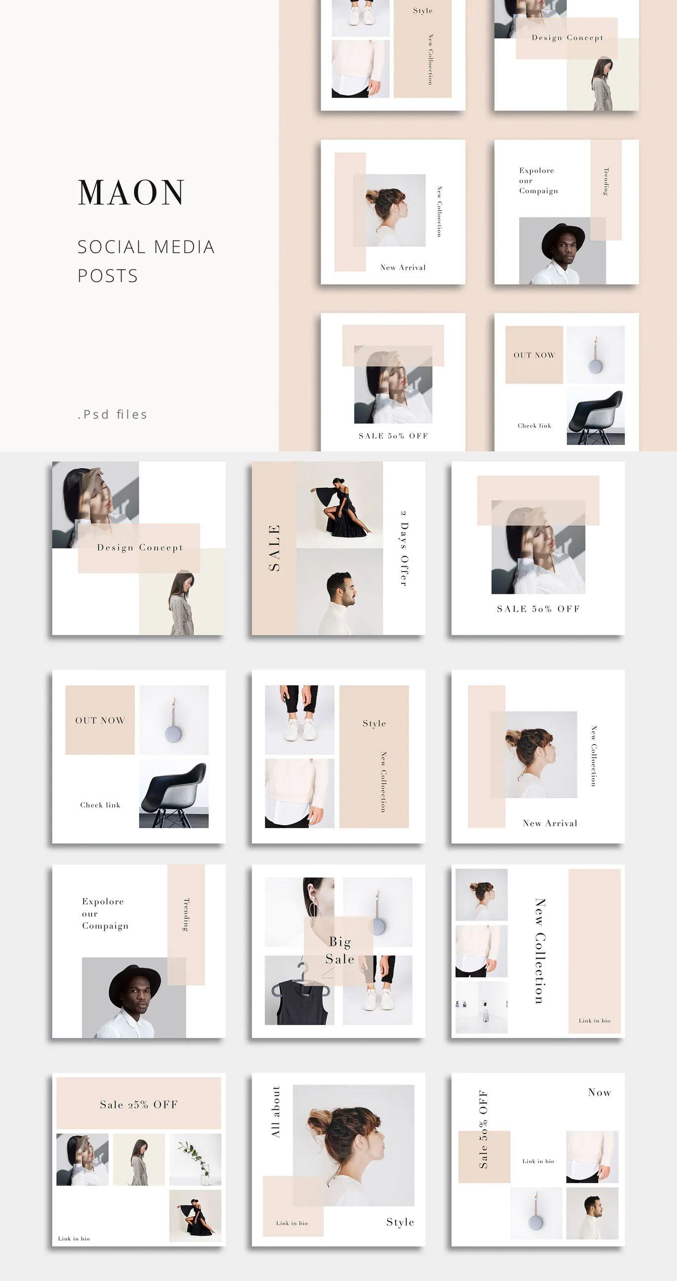 Maon Social Media Posts Template Psd Di 2020 Desain Web Desain Pamflet Desain Grafis