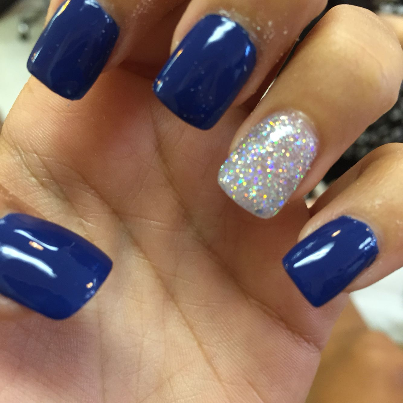 Royal Blue Acrylic Nails With Silver Rounded Acrylic Nails Winter Nails Acrylic Blue Acrylic Nails