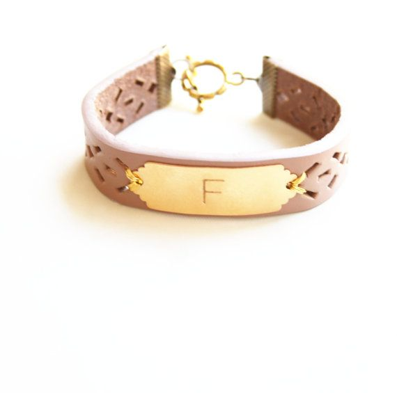 Personalized Bracelet Monogram Leather Custom Initial Jewelry Name