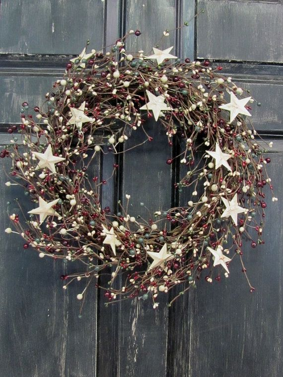 Items Similar To Primitive Christmas Front Door Wreath Pip Berry Rustic Wreaths Holiday