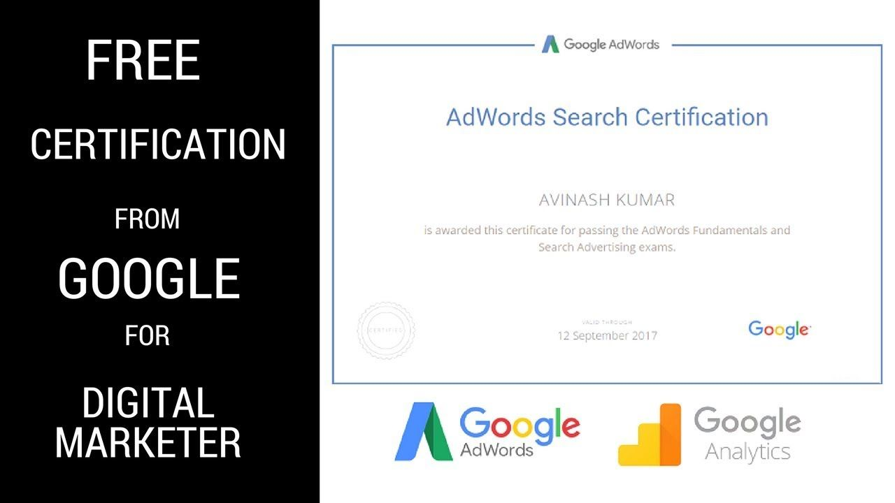 Free Certificate For Google AdWords & Analytics 2018