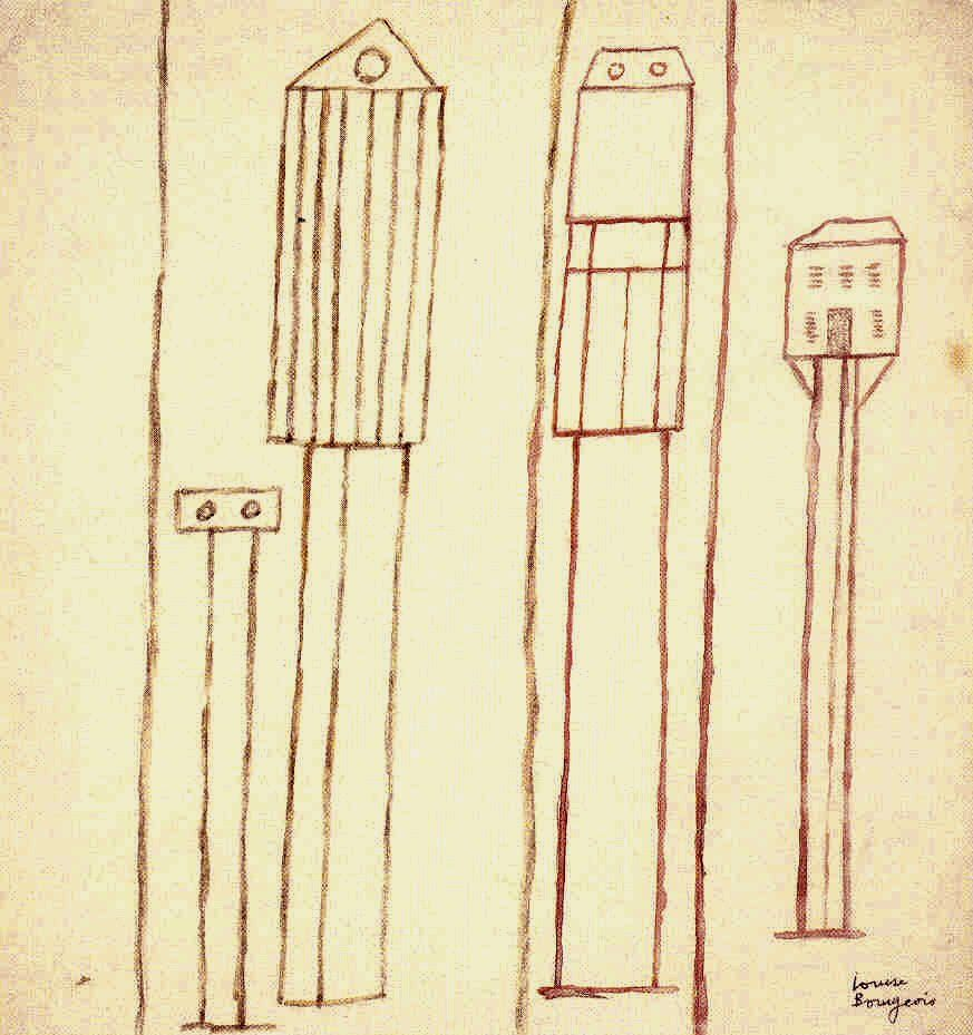 Louise Bourgeois. Untitled 1947. Ink, crayon, and ballpoint pen on paper, 10 5/8 x 10 inches.
