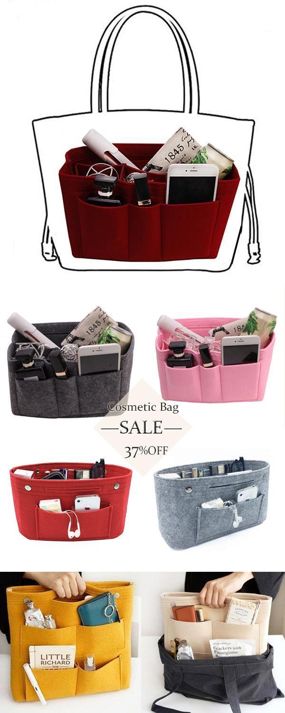 Makeup Organizer Felt Cloth Insert Bag Multifunctional Cosmetic Bag - From US$8.99 -   19 diy storage for kids ideas