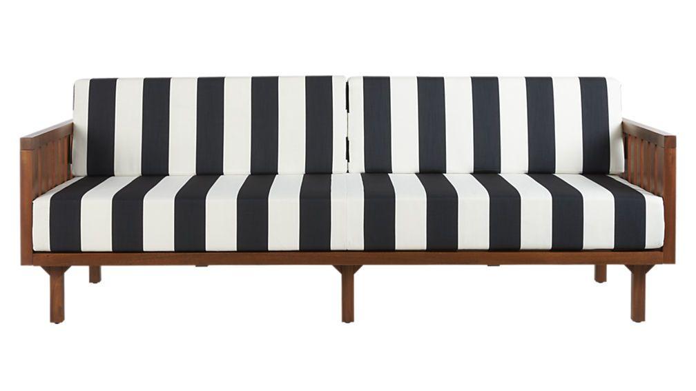 Tropez Black And White Stripe Outdoor Sofa Reviews White Patio