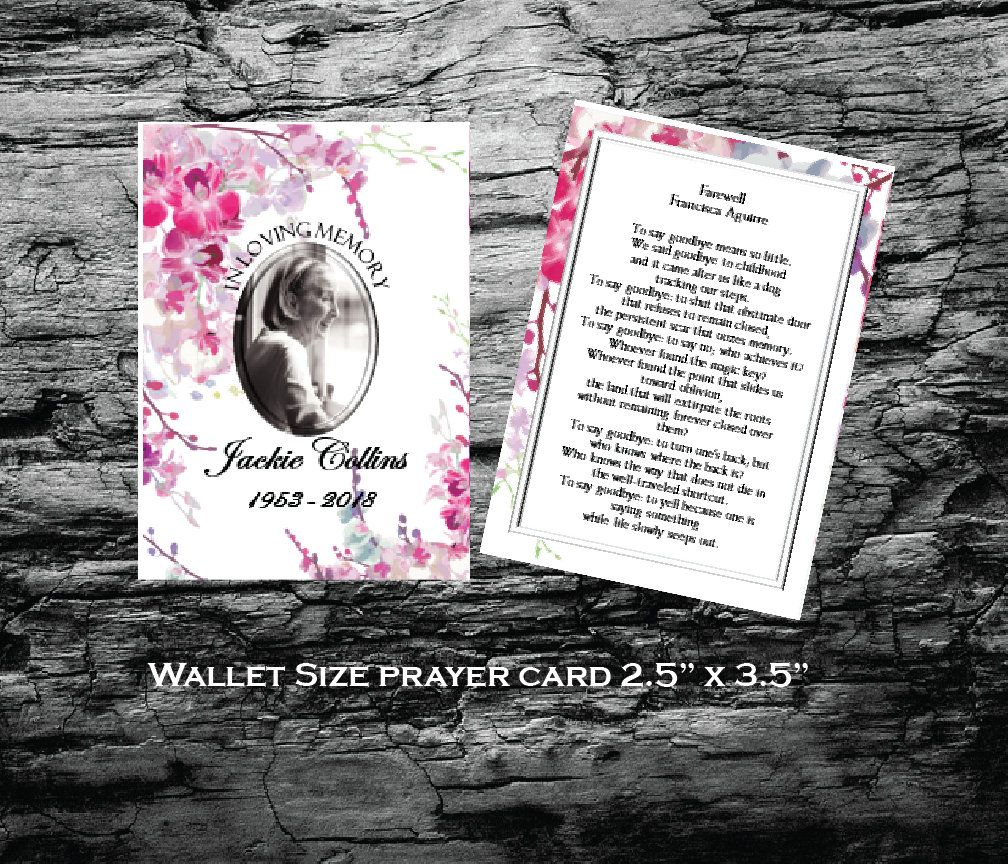 Prayer Card 2 5 X 3 5 Wallet Size Memorial Prayer Card Editable Text Ms Word Pink Orchids Https Et Prayer Cards Funeral Prayers Funeral Program Template