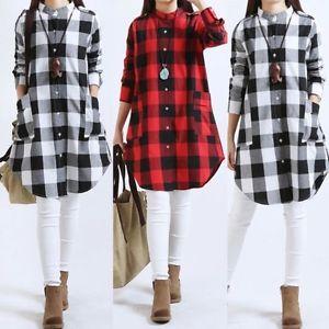 a0c2ff14b De-Moda-Para-Dama-A-Cuadros-Mini-Manga-Larga-Vestido -Casual-Top-Suelto-Camisas