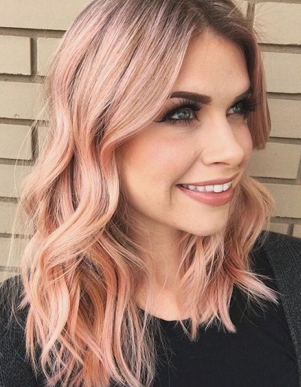 Rose Gold Pink Peach Balayage Creative Color Veggie Dye