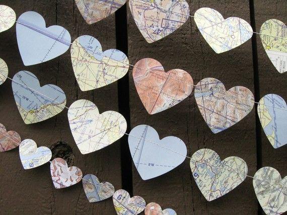 Map Heart Garlands