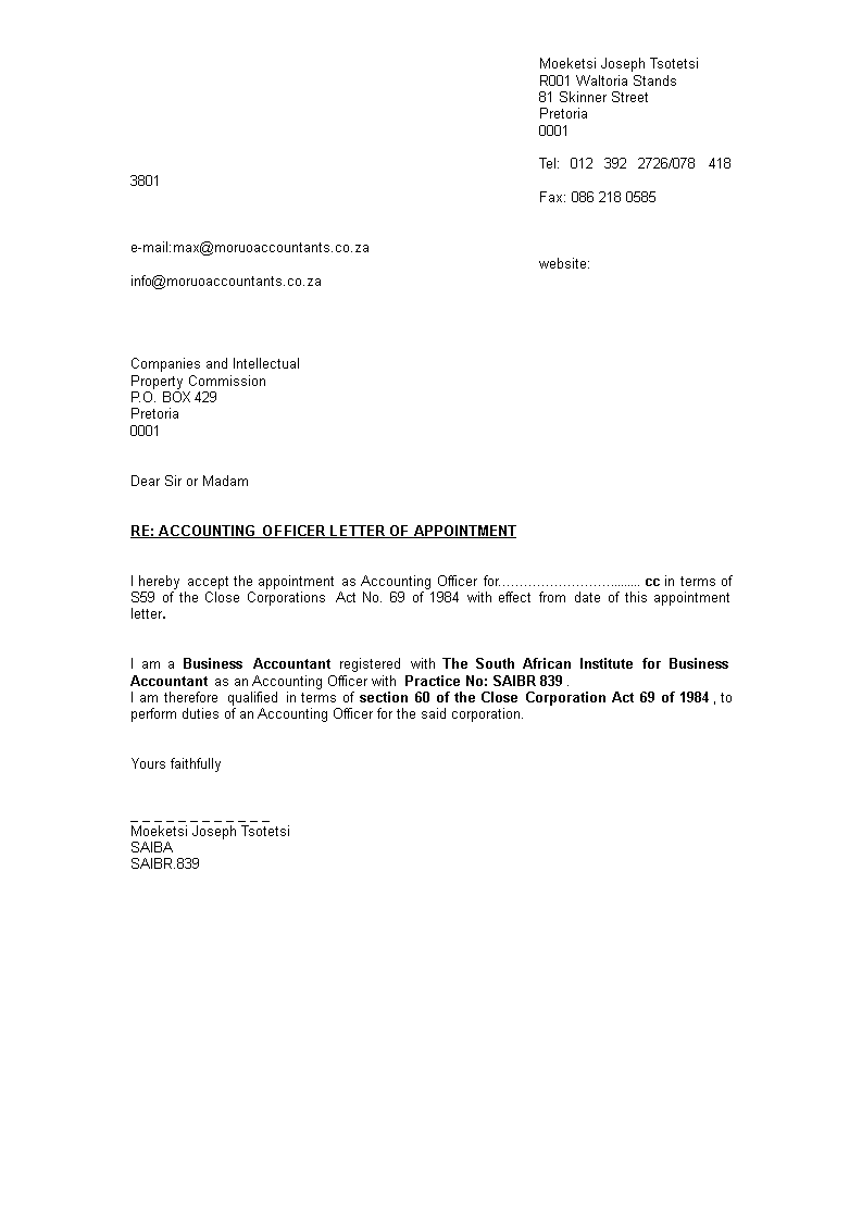Cpa Letter Sample