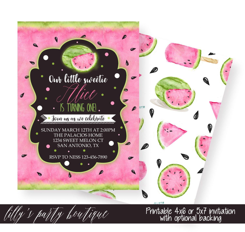 watermelon birthday invitation, pink black green invitation, Birthday invitations