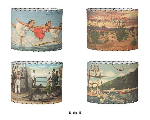 Love these retro vintage postcard lampshades.  Linda's photos would look great on a shade!