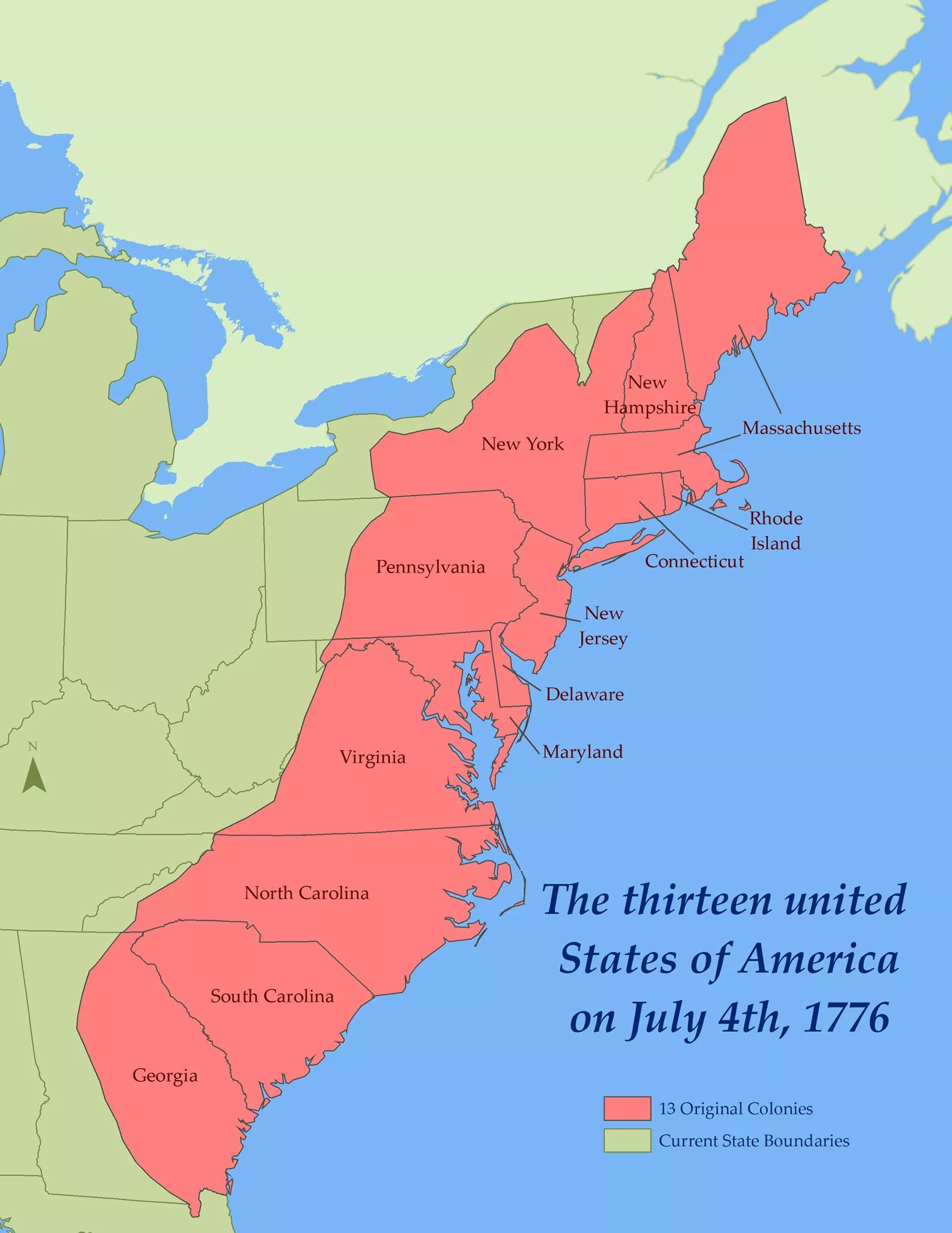 Map Of Us In 1776 Map of the US on July 4th, 1776 #Maps #InterestingMaps