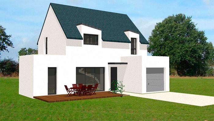 Plan maison contemporaine 2 tages garage terrasse jardin for Plan maison bretagne