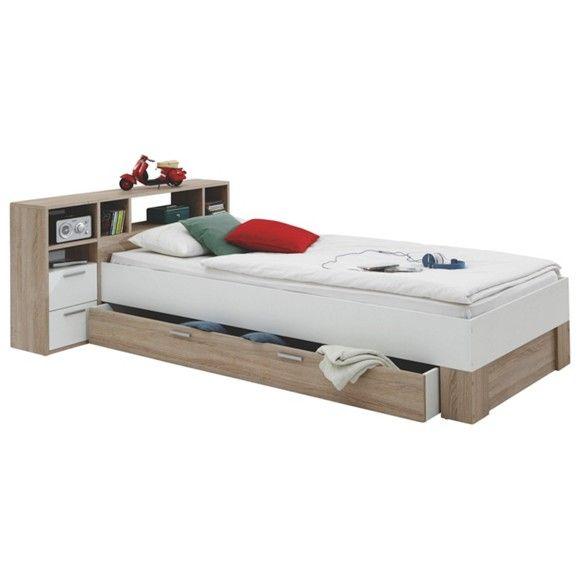 Diese Tolle Kombination Aus Bett Und Regal Von Carryhome Wird Sie Begeistern Auf Dem Bett Konnen Sie Entspannt Bett Mit Schubladen Bett Kinderbett Jugendbett