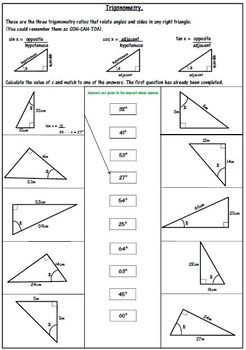 Right Triangle Trigonometry Worksheet - SOH CAH TOA | 8th grade math ...