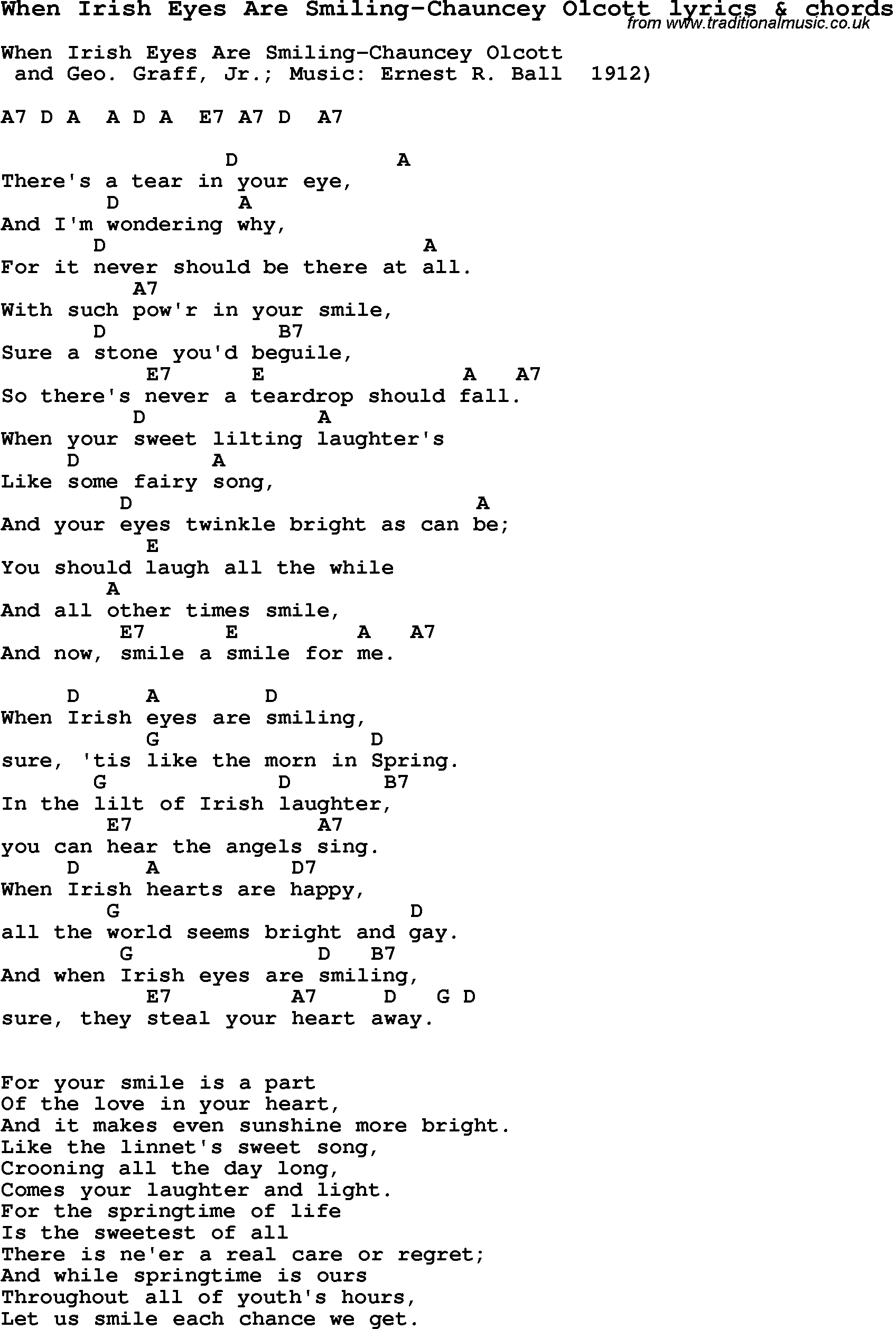 Love song lyrics for when irish eyes are smiling chauncey olcott love song lyrics for when irish eyes are smiling chauncey olcott with chords for hexwebz Image collections