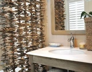 Keep Calm And InSpire Yourselves Driftwood Curtain Bathroom - Bathroom separator