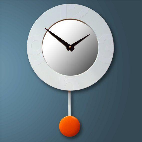 Stella Modern Wall Clock With Mirror And Pendulum By Pilotdesign 89 00