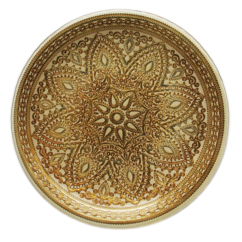 """The Jay Companies 1900051 13"""" Round Divine Gold Glass"""