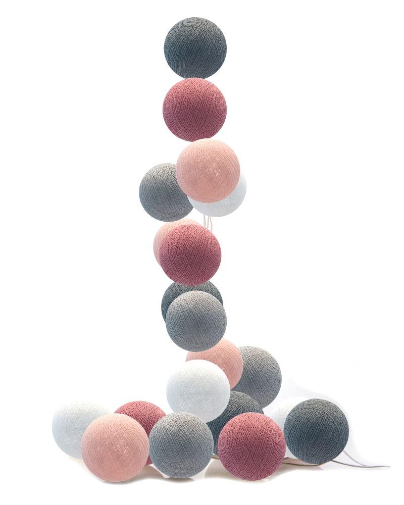 LED Lichterkette Cotton Balls puderrosa/altrosa/grau/weiß