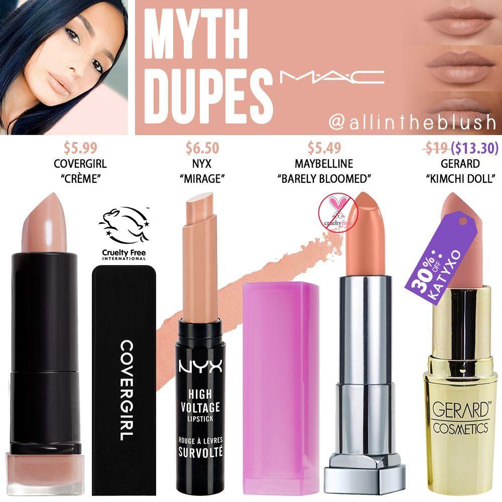 MAC Myth Lipstick Dupes All In The Blush Mac myth