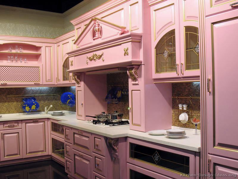 Kitchen classic kitchen decoration ideas with wooden pink for Pink and brown kitchen ideas