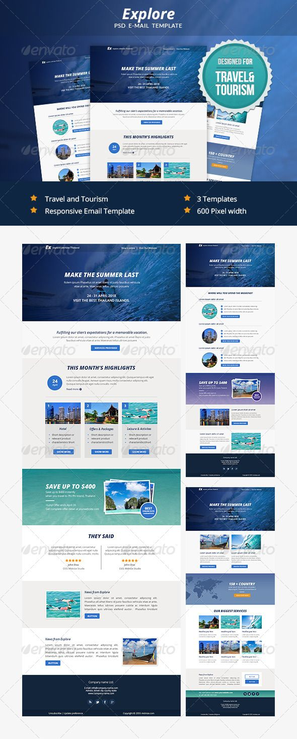 Explore - Travel PSD Email Newsletter Template | Best Newsletter ...