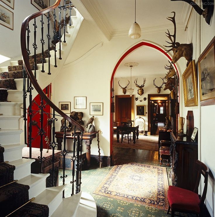 Elegant Mansion Foyers: The Victorian Entrance Hall At Glentruim Is Decorated With