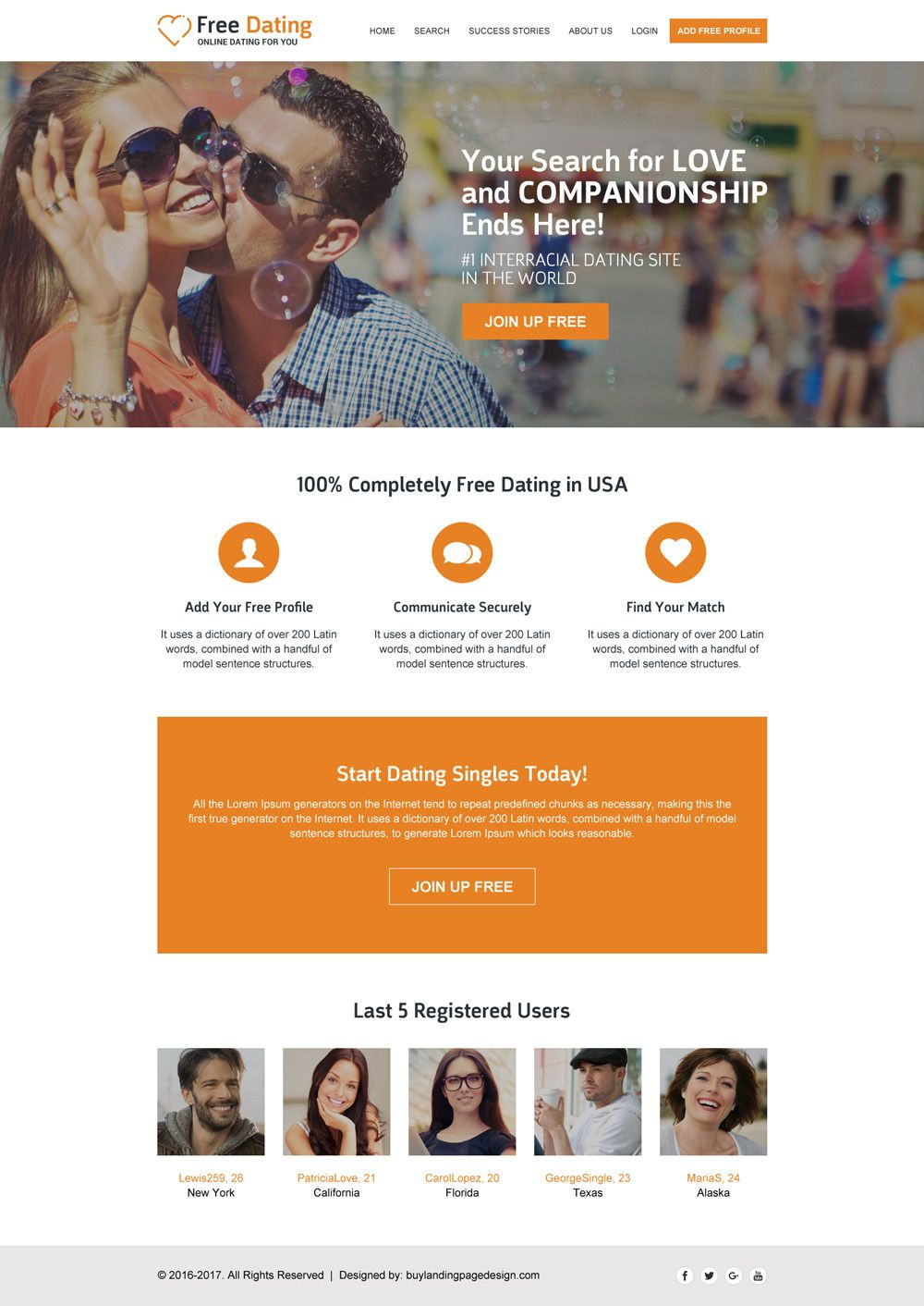 Dating webside design