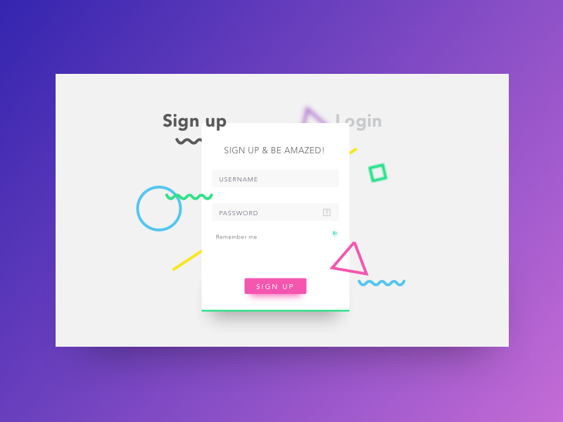 Signup Page Proposal | WEB Designs