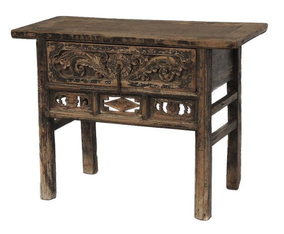Small Vintage Entry Console Table With Drawers And Carved Details By Terra  Nova Furniture Los Angeles
