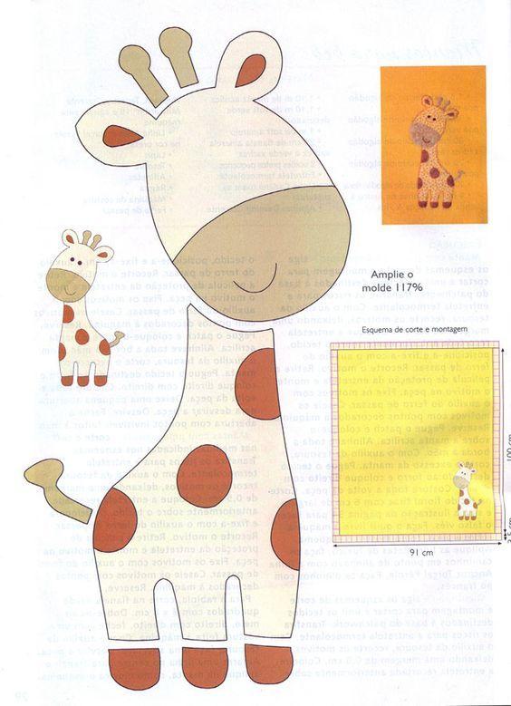 moldes para hacer jirafas de fieltro | patrones figuras | Pinterest ...