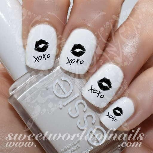 Valentines Day Nail Art Xoxo Black Lips Nail Water Decals Water