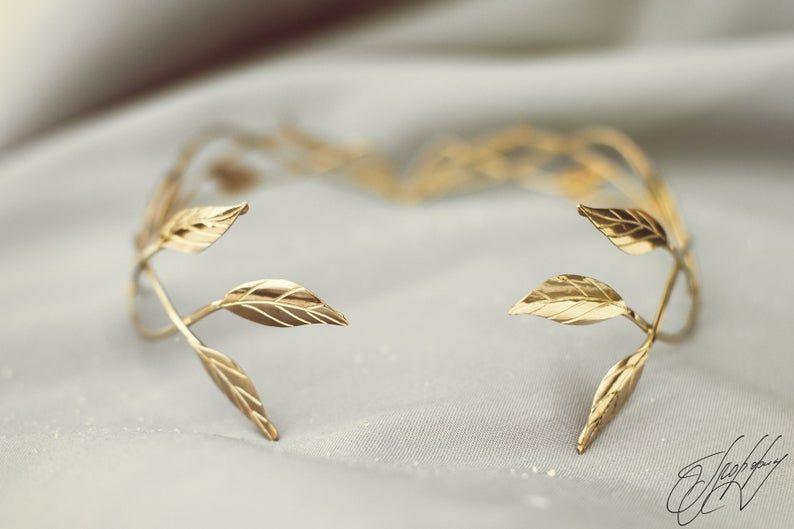 Bridal headpiece tiara elvish wedding Elf Leaf Crown Elven Queen's diadem #leafcrown