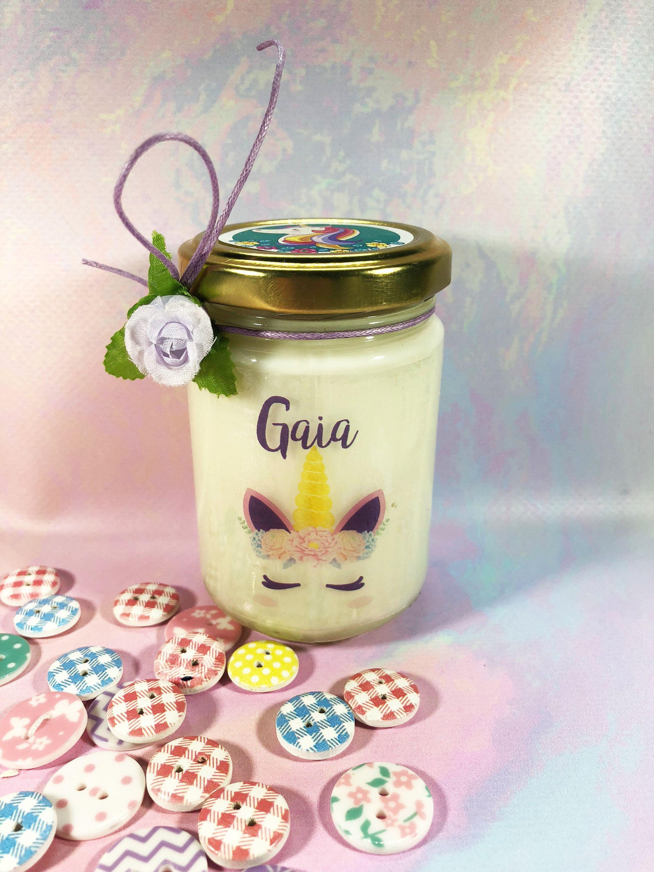 Unicorno Vasetto con candela personalizzato con nome regalo