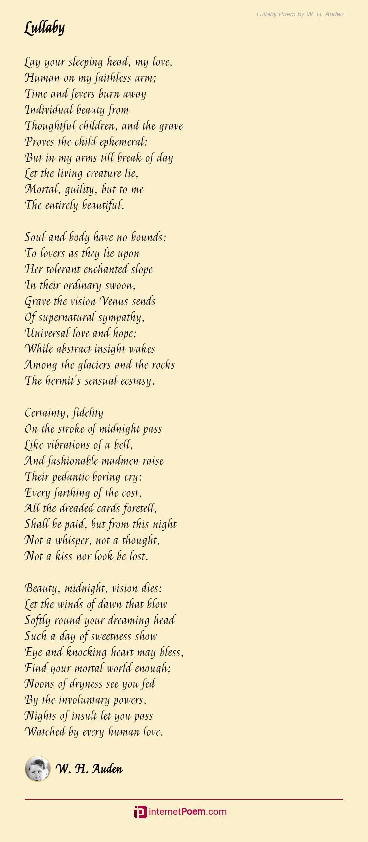 Lullaby Poem By W H Auden Gods Love Poems Rhyme Scheme