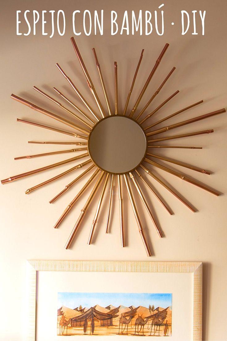 Banbu Porn espejo decorado con bambú ➜ con un poco de pintura y palos