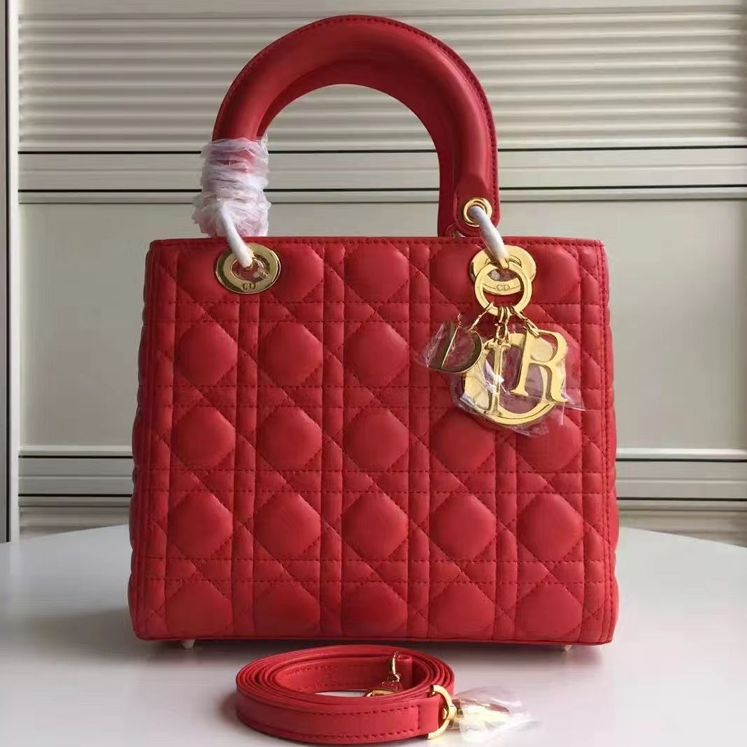 ff6ec2bb2f Dior Lady Dior Medium Bag In Lambskin Red (Gold Hardware) | Dior ...