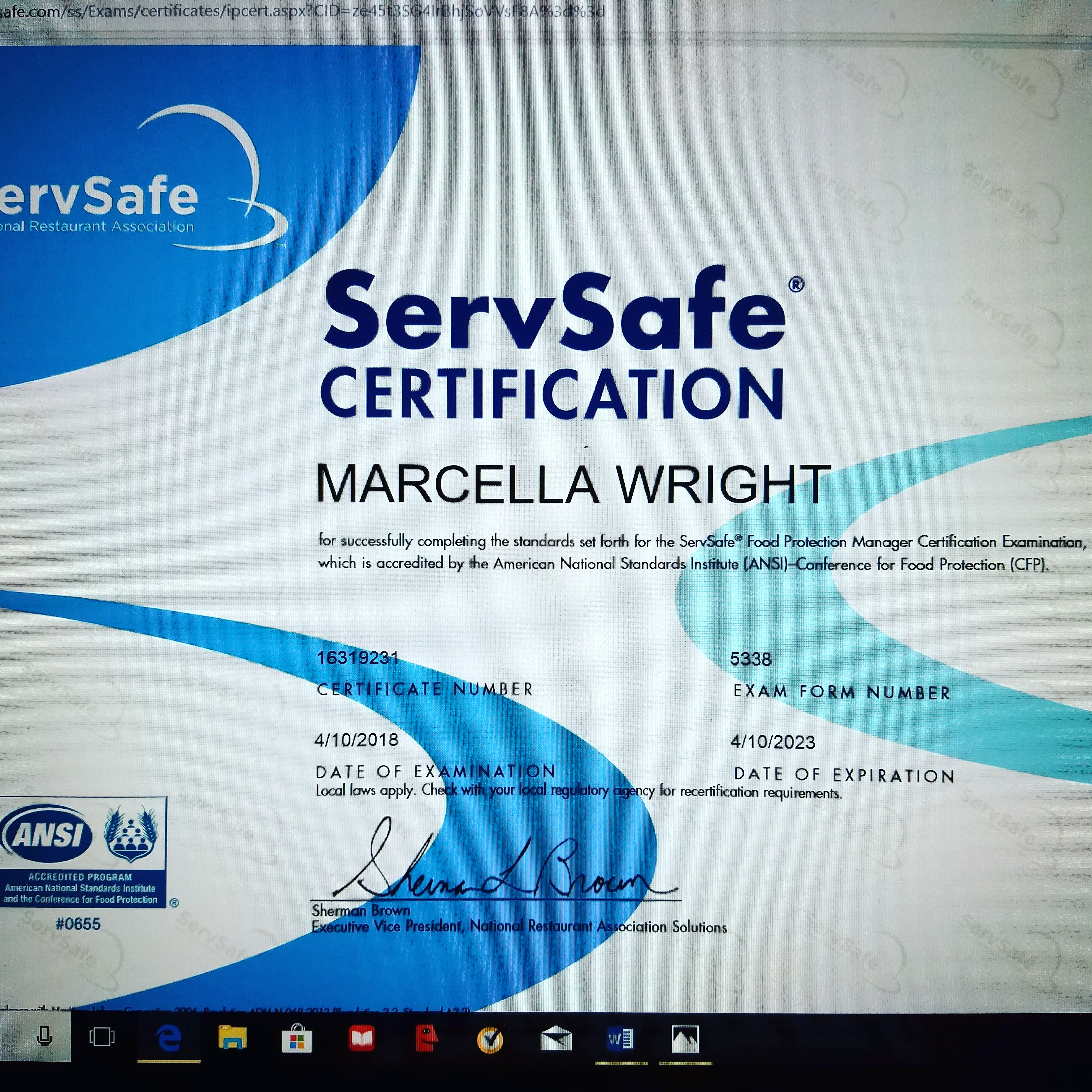 manager certified protection safety instructor proctor restaurant