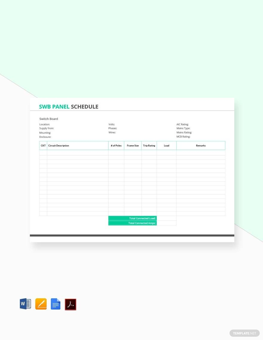 Free Swb Panel Schedule Template Pdf Word Doc Apple Mac Pages Schedule Template Word Doc Planner Template
